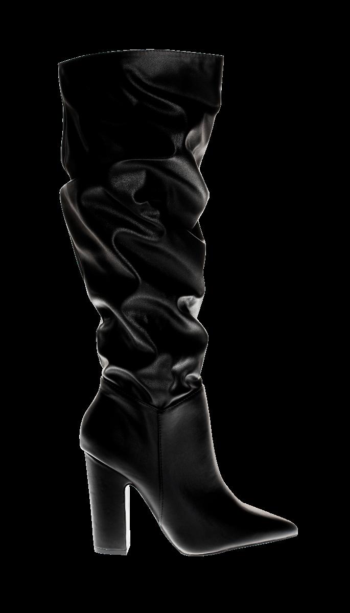 S1640PU HIGH BOOTS, BLACK
