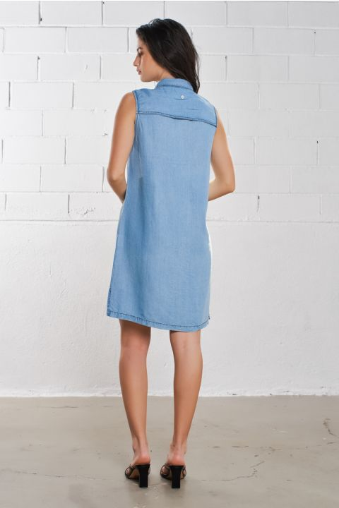 SCAR-M DRESS 100%TENCEL, LIGHT BLUE DENIM