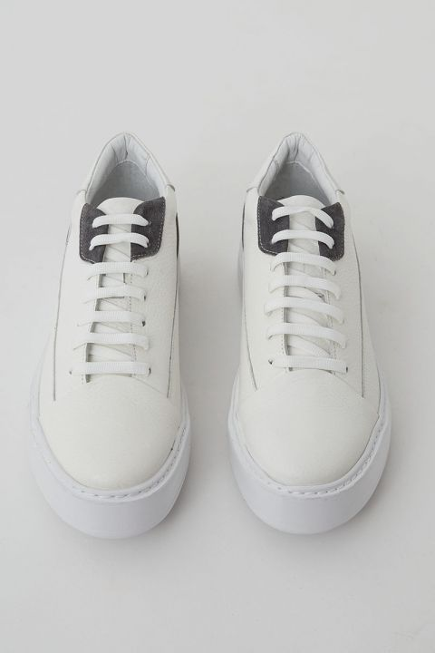 SANTONI LOW TOP SNEAKERS, LIGHT GRAY