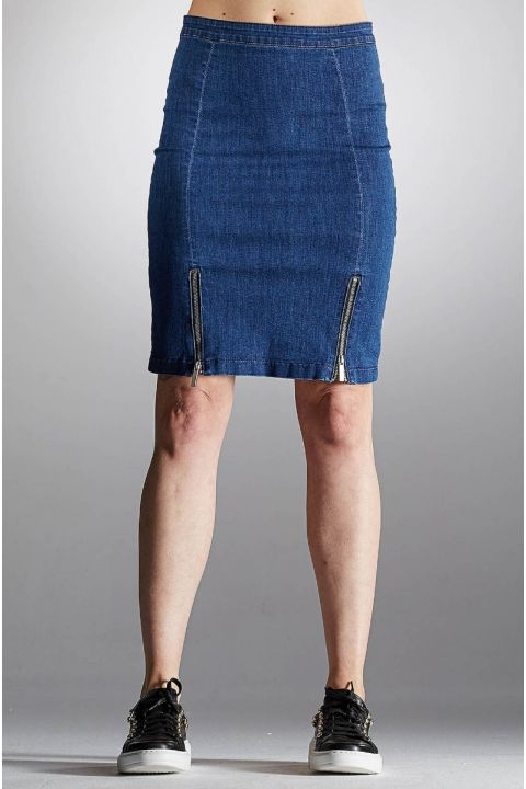 TAURET-VOG DENIM SKIRT, BLUE
