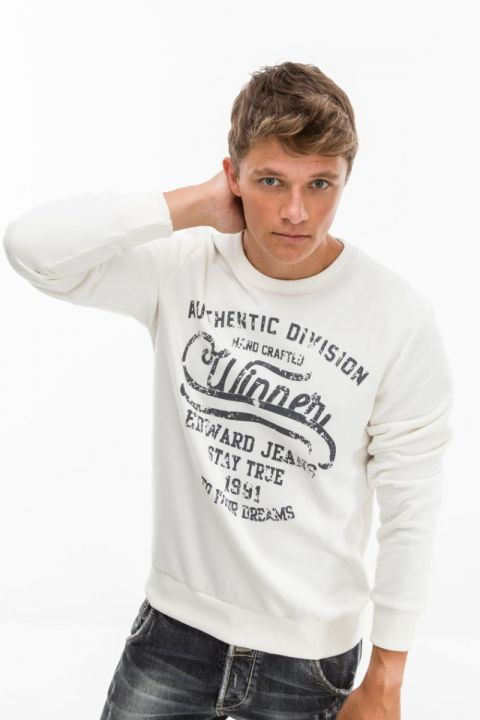 SAMWELL-W19 SWEATSHIRT, OFF WHITE