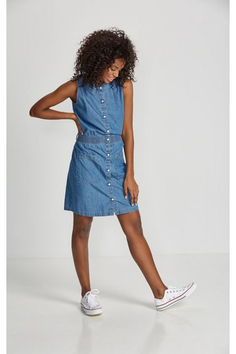 TESHA-S19 DENIM DRESS, BLUE