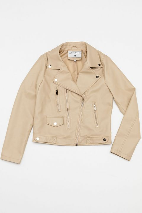 2008 ECO-LEATHER JACKET, BEIGE