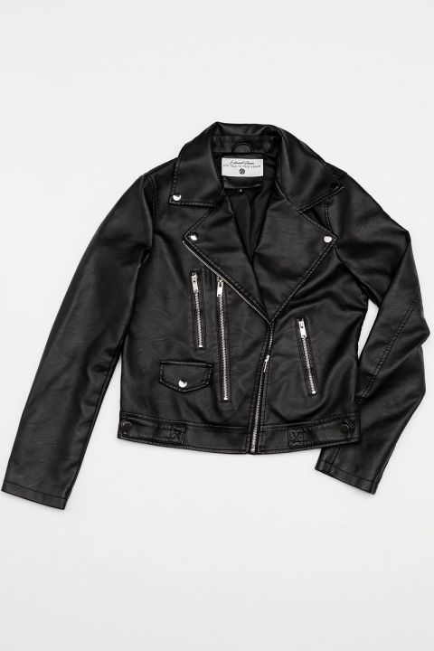 2008 ECO-LEATHER JACKET, BLACK