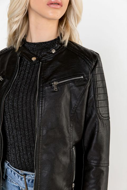 F02/FL19 ECO-LEATHER BIKER JACKET