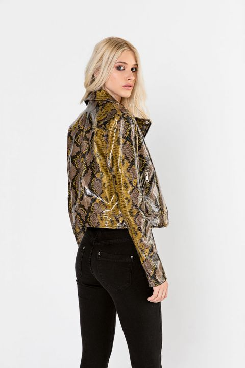 1068/FL19 ECO-LEATHER PYTHON JACKET
