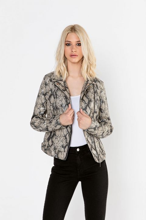 1070/FL19 ECO-LEATHER PYTHON JACKET