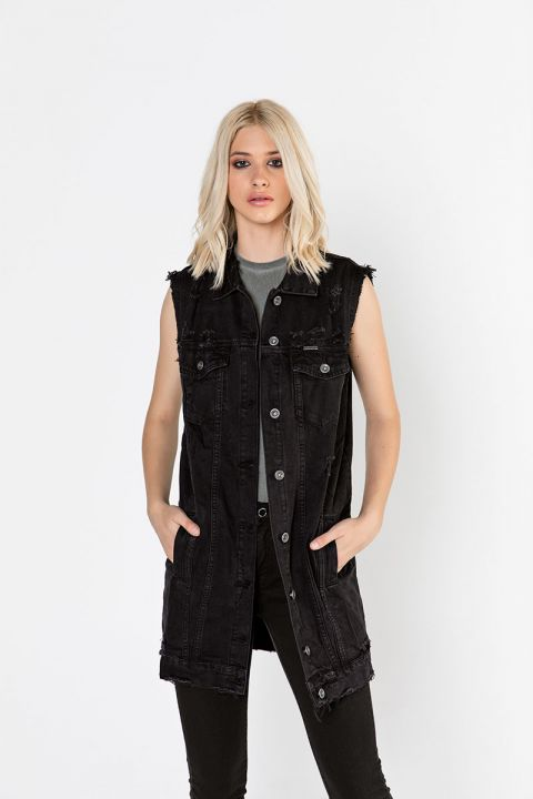 H6367/FL19 OVERSIZED BLACK VEST