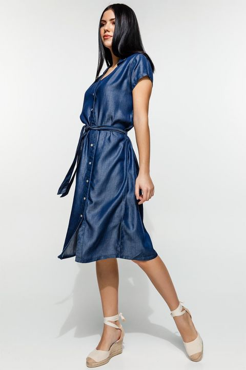 MIENA-MIS  DENIM DRESS, BLUE
