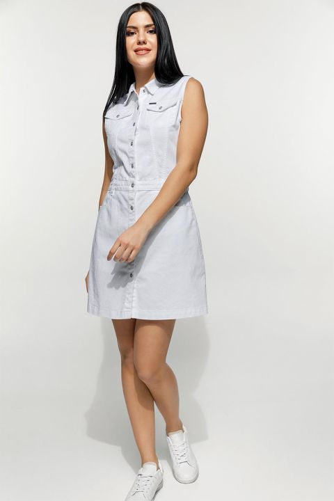 SUNDRY-RAM DRESS, WHITE