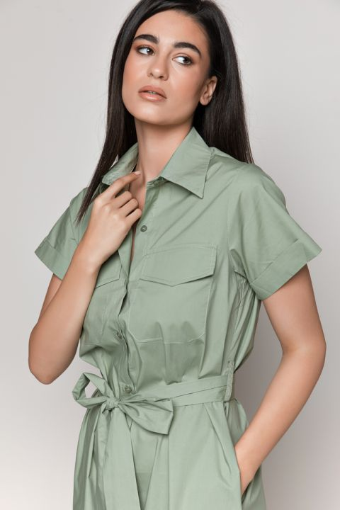 B232 LONG SHIRT-DRESS, LIGHT ARMY
