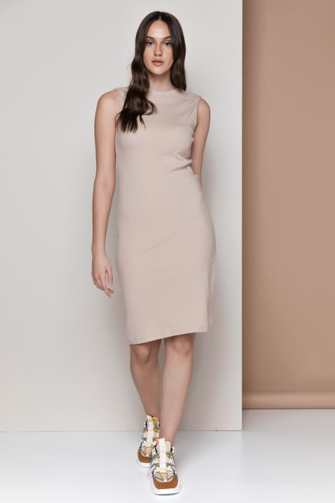 DIANE-1815 DRESS, BEIGE