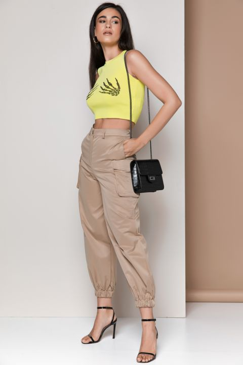MJ0558 CROPPED TOP, YELLOW