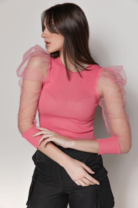 MJ0564 RIBBED/SHEER SLEEVE TOP, FUCSHIA