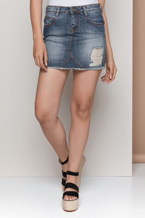 CAMORA-18 DENIM SKIRT, BLUE