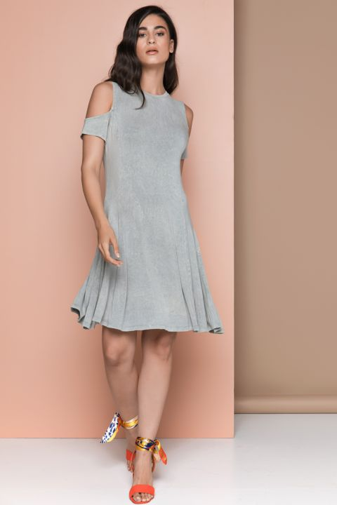 LELA DRESS, LIGHT GRAY