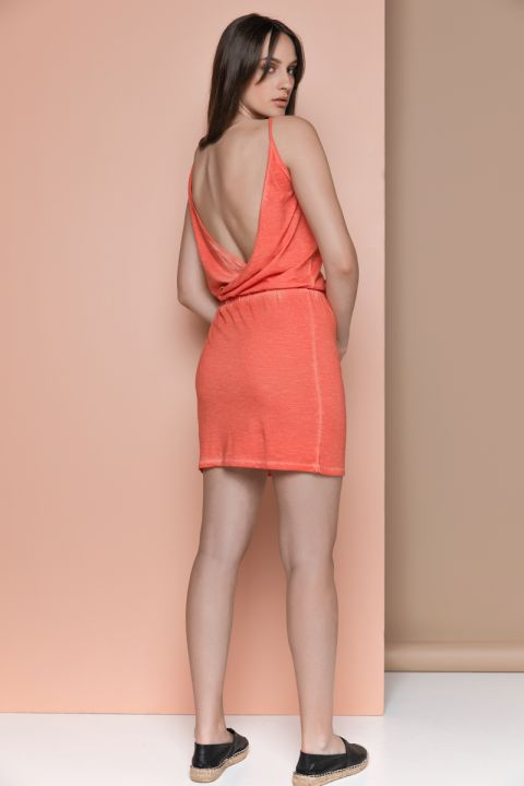 VETA JERSAY DRESS, CORAL