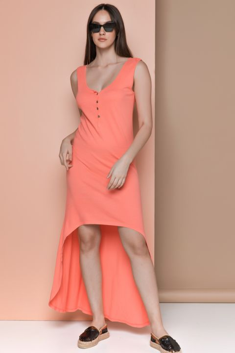 GELSEY-24 JERSAY DRESS, CORAL