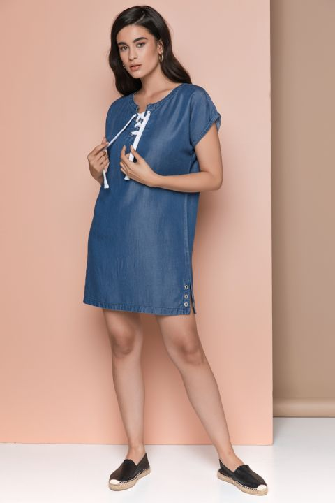 PRECIOUS -S19 DENIM DRESS, BLUE