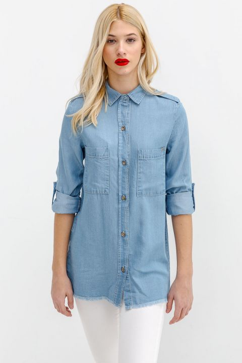 MADELYN-MIS DENIM SHIRT, BLUE