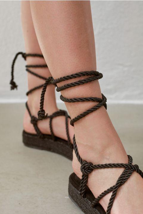 Om-6 Platform Sandals, BLACK