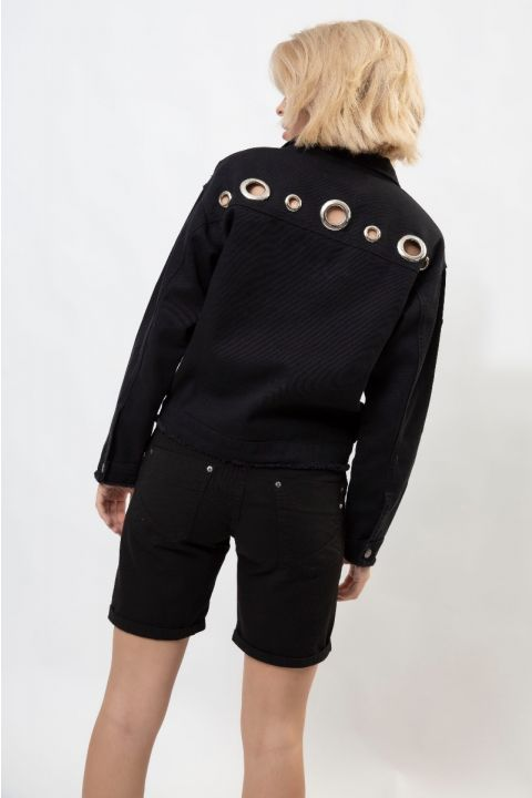 K20539 OVERSIZED COL.DNM JACKET, BLACK