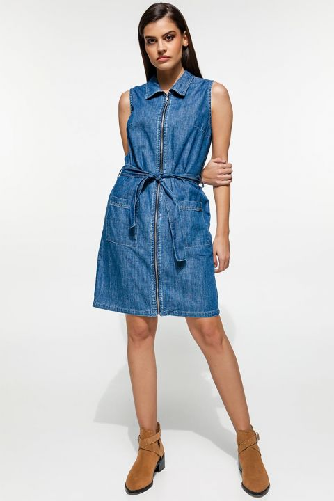 BIONDA-WH  DENIM DRESS 100%COTTON, BLUE