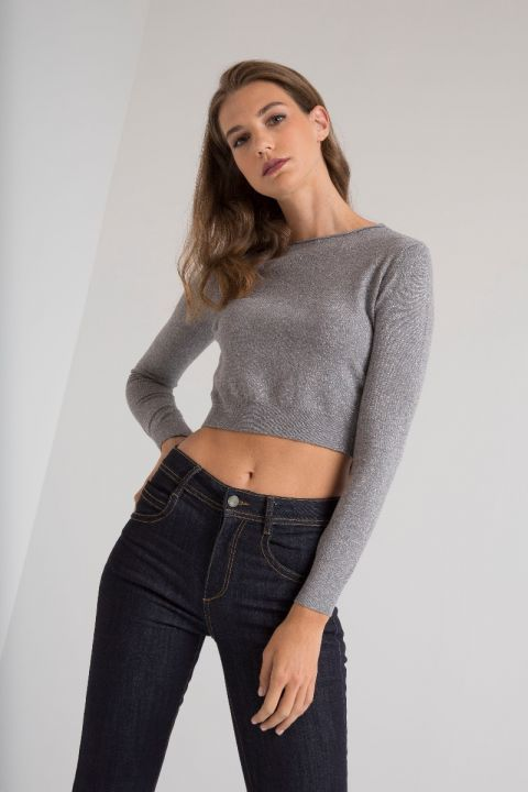 028610 CROPPED KNITWEAR, CLASSIC GRAY