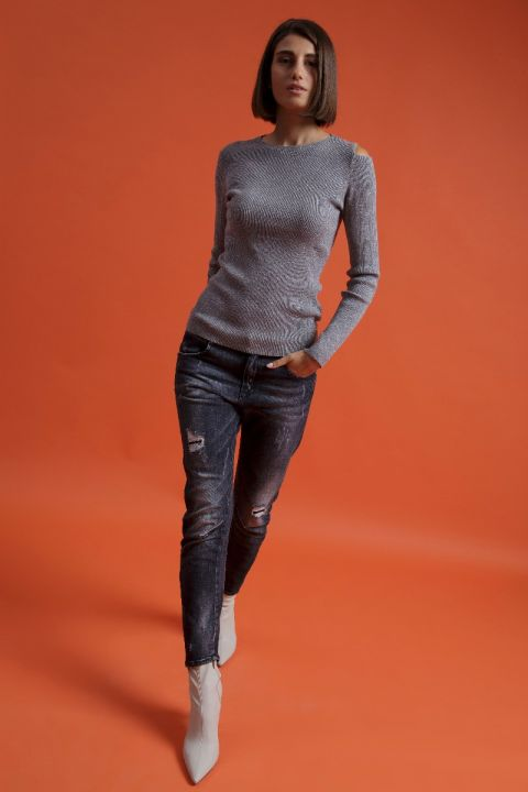 028667 COLD SHOULDER KNITWEAR, CLASSIC GRAY