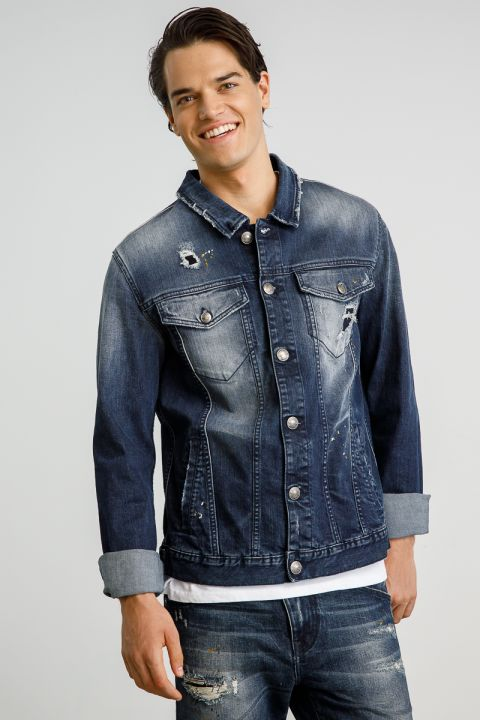 WICK-987DS DENIM JACKET, MEDIUM BLUE DENIM