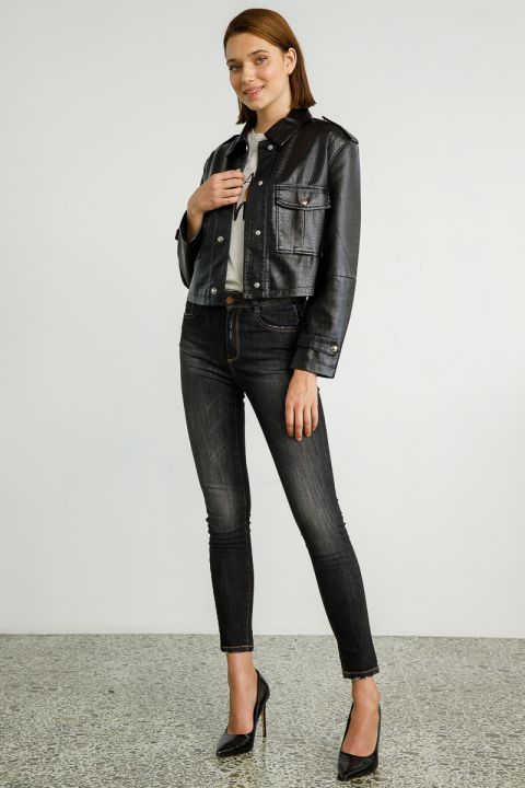 YP-20067 ECO LEATHER CROPPED CROCO JACKET, BLACK