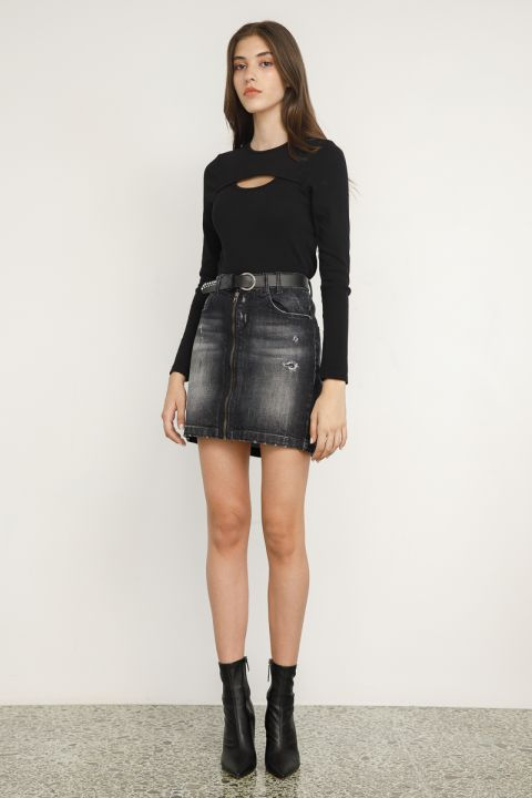 RENIFER-72U DENIM SKIRT, DARK GREY DENIM