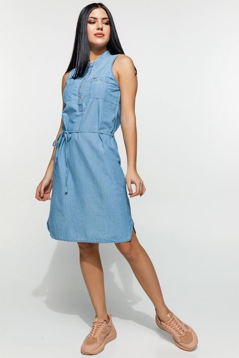 KIANA-WES  DENIM DRESS 100%COTTON, BLUE