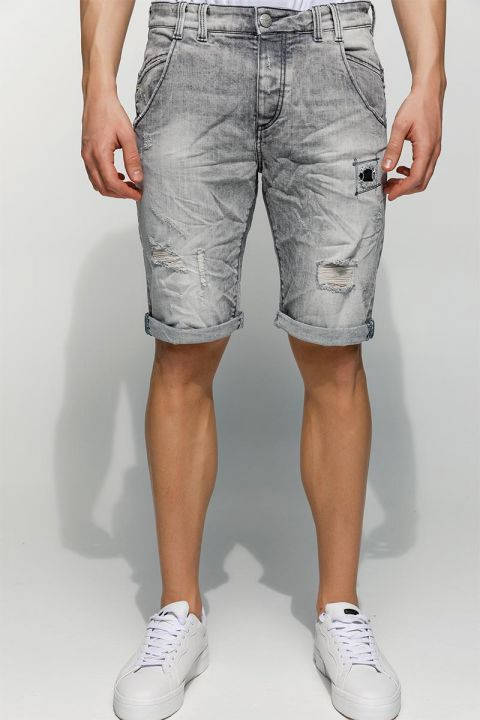 KATRIK-EG DENIM SHORTS, LIGHT GRAY DENIM