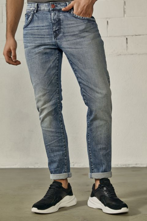 THORLEY-JAP JEANS, MEDIUM BLUE DENIM