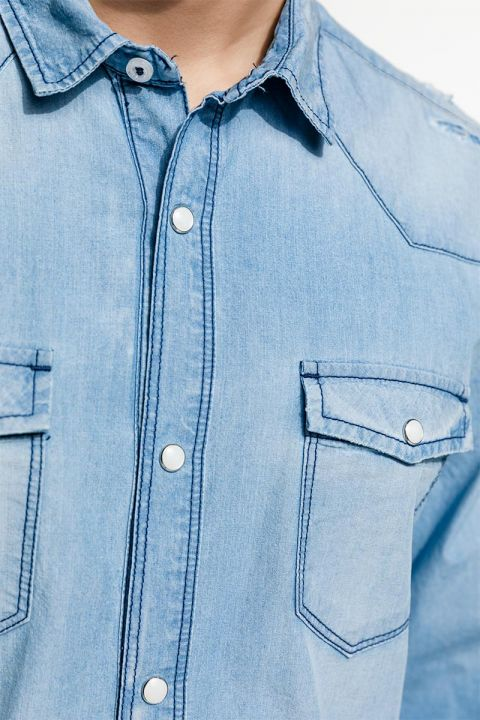 LIMES-WES DENIM SHIRT, BLUE