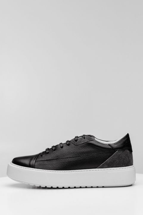 SANTONI-W20 LOW TOP SNEAKERS, BLACK