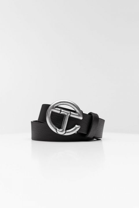 EW002 GUN METAL BELT, BLACK