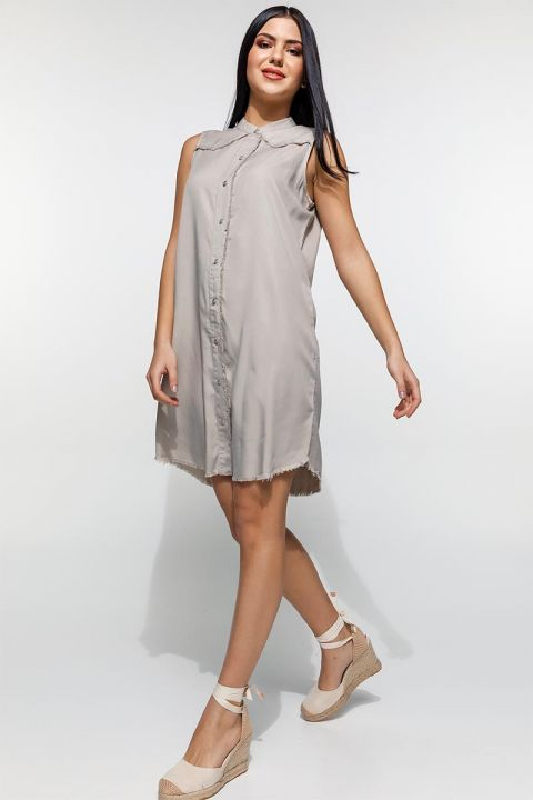 ROMANI-OR DRESS 100%TENCEL, BEIGE