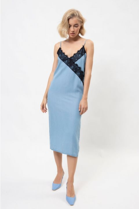 LAQUITA-MIS  DENIM DRESS, LIGHT BLUE DENIM