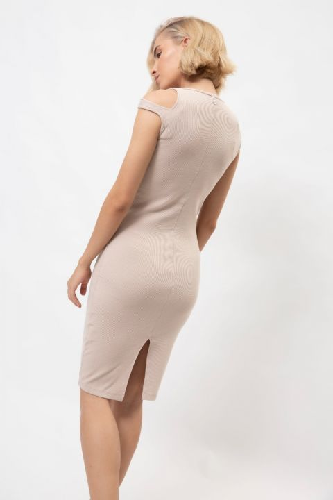 CARDALL-1815 DRESS, BEIGE