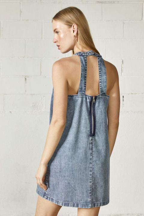 HARLENE DRESS, MEDIUM BLUE DENIM