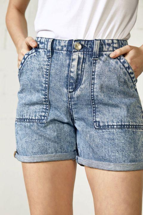 Safari-gl Denim Shorts, MEDIUM BLUE DENIM