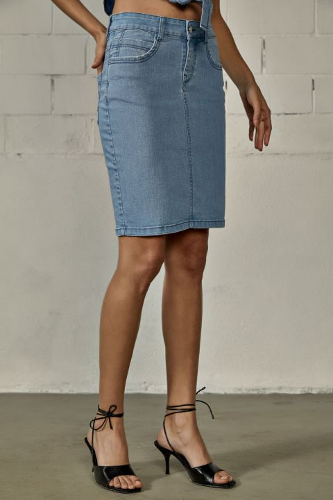KANIELA-203 DENIM SKIRT, LIGHT BLUE DENIM
