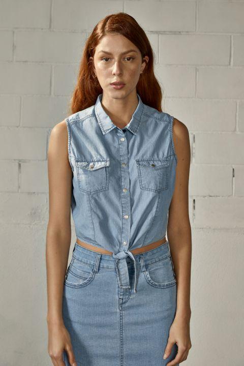 Shirlyn Denim Shirt, LIGHT BLUE DENIM