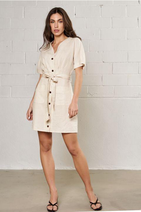 SHAINA-FX  DRESS, OFF WHITE