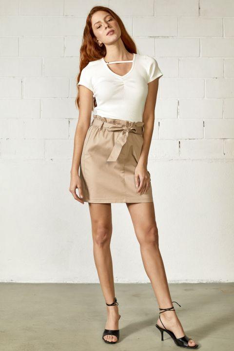 Chanton-V Skirt, BEIGE