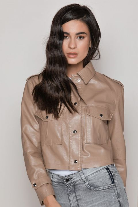 YP-20067 ECO LEATHER CROPPED CROCO JACKET, CAMEL