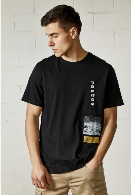 ROUTES T-SHIRT, BLACK